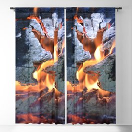 black white and flame Blackout Curtain
