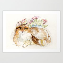 Cat and His Thoughts Art Print