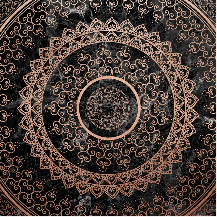 Mandala Rose Gold And Black Marble Duvet Cover By