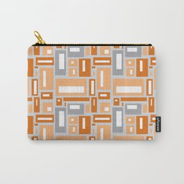Simple Geometric Pattern in Peach and Gray Carry-All Pouch