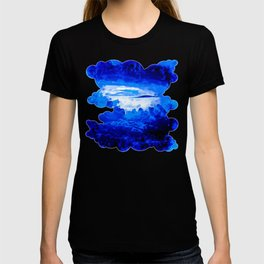 cloudy sky blue turquoise splatter watercolor T-shirt
