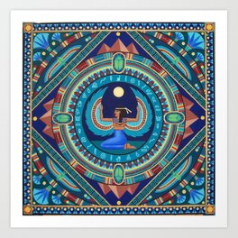 Egyptian Goddess Isis mandala by Soozie Wray Art Print
