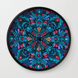 Pink, light blue floral mandala on black Wall Clock