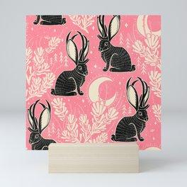 Jackalope - pink and black Mini Art Print
