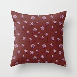 Dainty Wildflowers - Burgundy & Lilac Throw Pillow