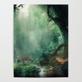 Gorgeous Gracious Deer Mother And Kid Grazing In Magical Forest Clearing Ultra HD Poster