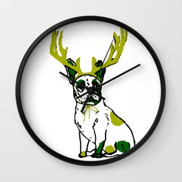 PUG DEER in Green and White Wall Clock