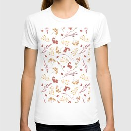 Autumn yellow orange pink red watercolor fall leaves berries T-shirt