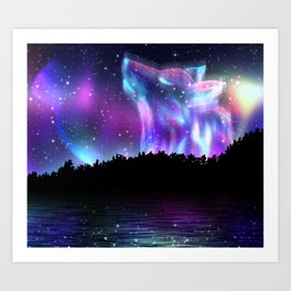 Northern landscape with howling wolf spirit and aurora borealis Art Print