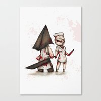 silent hill Canvas Prints featuring Silent Plushie Hill by Ludwig Van Bacon