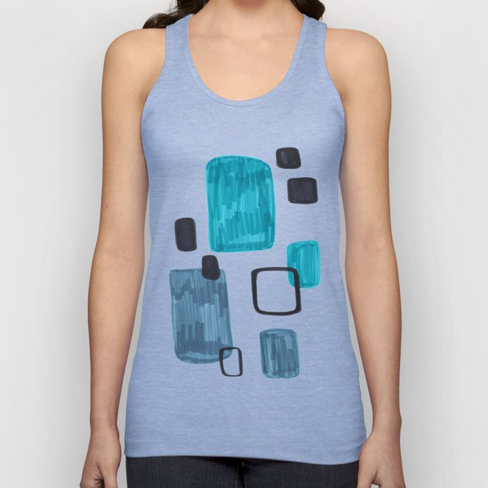 Mid Century Modern Abstract Minimalist Art Colorful Shapes Vintage Retro Style Turquoise Blue Grey Unisex Tank Top