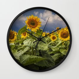 Blooming Sunflowers against a Cloudy Blue Sky Wall Clock