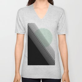 Rising Sun Minimal Japanese Abstract White Black Mint Green Unisex V-Neck