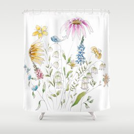 wild flowers and blue bird _ink and watercolor 1 Shower Curtain