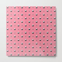Studded Double Polka stud on Coral Pink 1 Metal Print