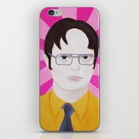 dwight schrute iPhone & iPod Skins featuring Dwight by kate gabrielle