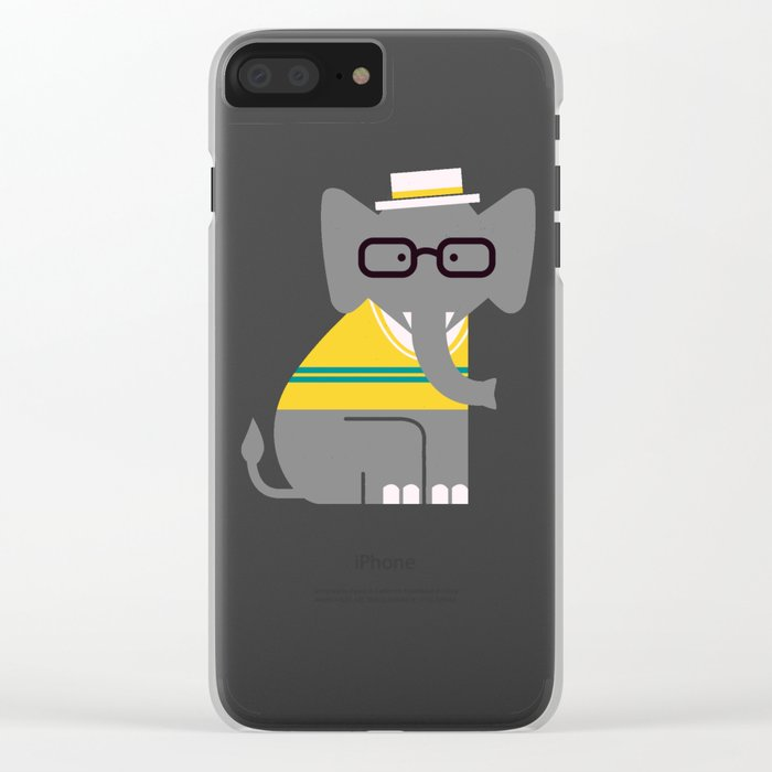 Rodney the preppy elephant Clear iPhone Case