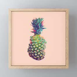 Vintage style pineapple with grunge glitch effect design Framed Mini Art Print