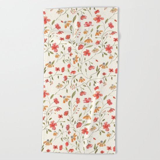 Red and Orange Vintage Floral Pattern Beach Towel