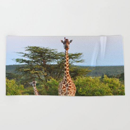 Giraffe Widlife Photography #society6 #home #decor Beach Towel