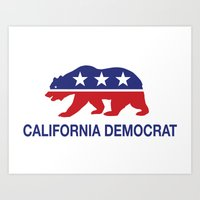 political Art Prints featuring California Political Democrat Bear by Democrat