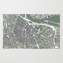Amsterdam city map engraving Rug
