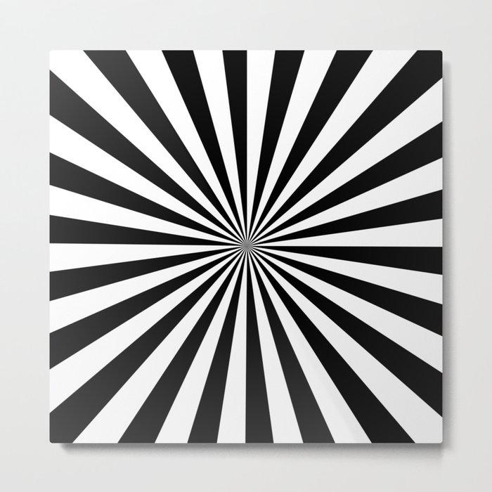 Black and White Starburst Pattern Metal Print