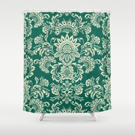 Damask vintage in green Shower Curtain