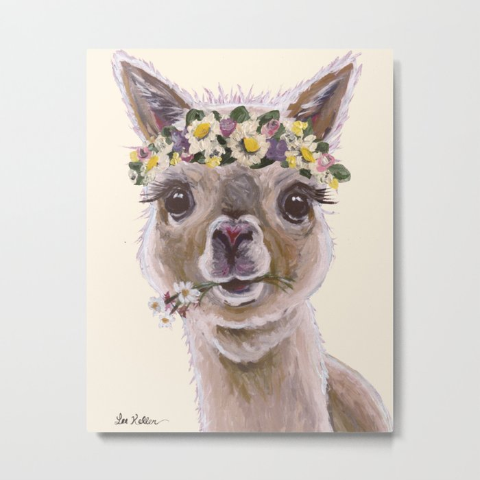 Holly The Alpaca, Alpaca Art Metal Print