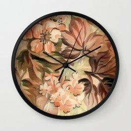 Peachy Floral Abstract Wall Clock