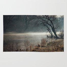 Morning fog, river and sunrise Rug