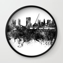 Columbus skyline in black watercolor on white background Wall Clock