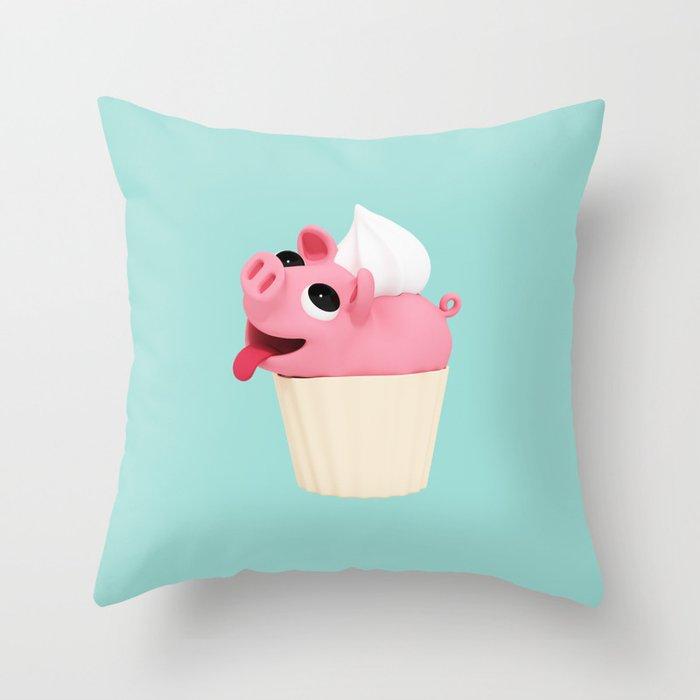 Rosa Cupcake blue Throw Pillow