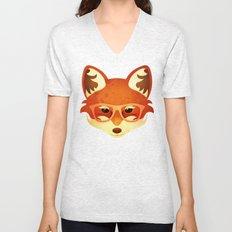Hipster Fox: Rose Unisex V-Neck