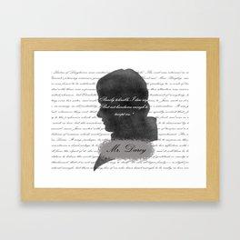 Mr. Darcy - Quote about Elizabeth Bennet Framed Art Print
