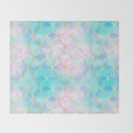 Iridescent Glass Geometric Pattern Throw Blanket