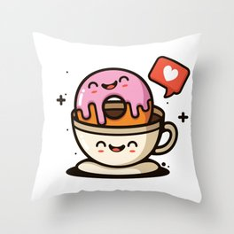 I like My Donut Dipped In Coffee Throw Pillow