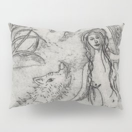 Nude and wolf Pillow Sham