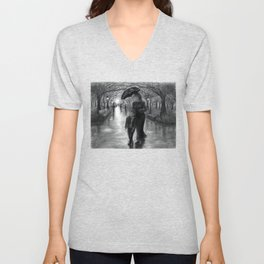 Untitled - charcoal drawing - mother, son, family, park, rainy day, umbrella, silhouette Unisex V-Neck