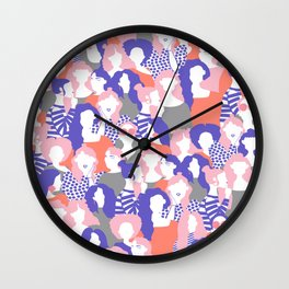 Sisterhood // Womenpower: Different women with bold colors, grouped in a colorful pattern Wall Clock