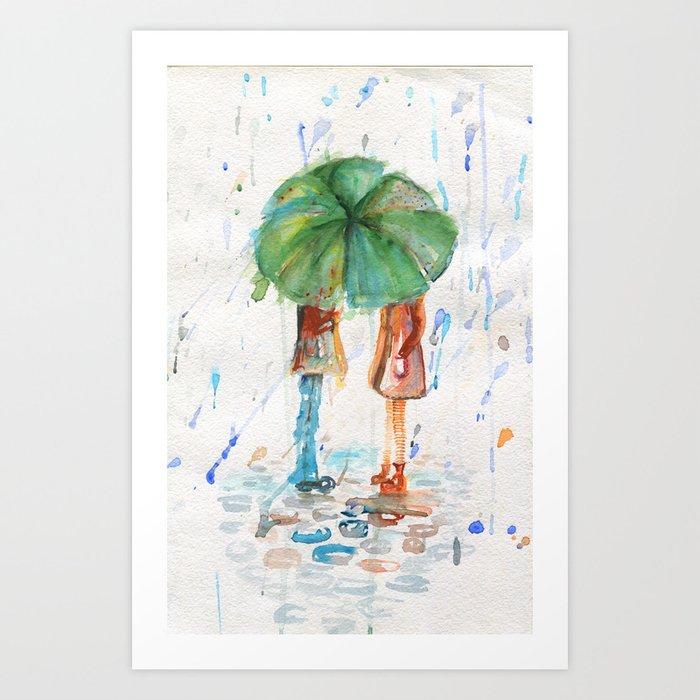 Sunday's Society6   Watercolor rain art print