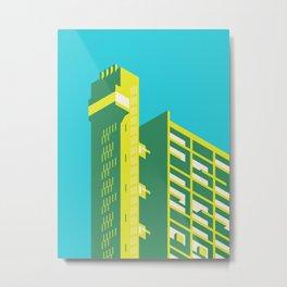 Trellick Tower London Brutalist Architecture - Plain Cyan Metal Print