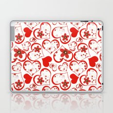 Abstract pattern with red hearts and flowers on a white background. Laptop & iPad Skin