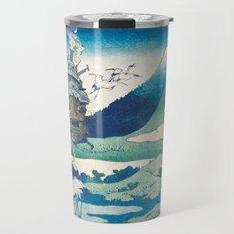 Howl's castle and japanese woodblock mashup Travel Mug
