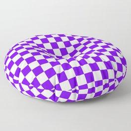 White and Indigo Violet Checkerboard Floor Pillow