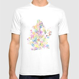 Typographic Brooklyn - Multi Color Watercolor map art T-shirt
