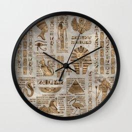 Egyptian hieroglyphs and deities -Vintage Gold Wall Clock
