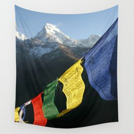 Buddhist prayer flags with mountain peaks Wall Tapestry