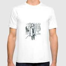 Brush Pen Fashion Illustration - Dreamer MEDIUM Mens Fitted Tee White