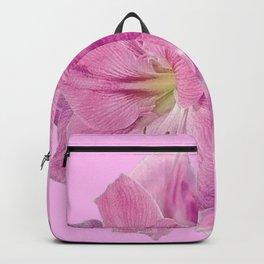 PINK TROPICAL  AMARYLLIS GARDEN FLORAL ON PINK ART Backpack